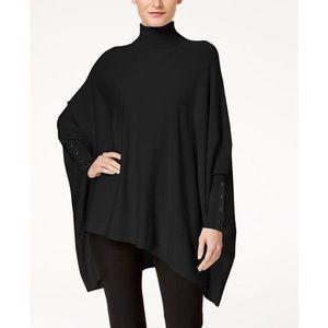 Black Poncho Turtleneck Sweater